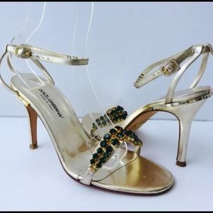 Dolce & Gabbana Green Jewelry Gold Leather Heels